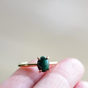 Shop Malachite Rings! Malachite Ring. Green Stone Ring. Natural Malachite. Gold Filled Green Malachite Cabochon Ring. Gift for Her. Minimalist Jewelry | Natural genuine Malachite rings, simple unique handcrafted gemstone rings. #rings #jewelry #shopping #gift #handmade #fashion #style #affiliate #ad