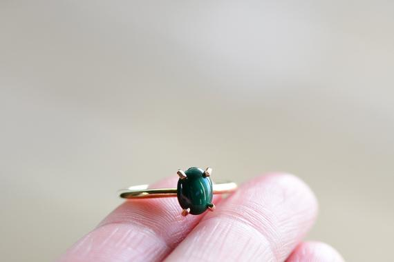 Malachite Ring. Green Stone Ring. Natural Malachite. Gold Filled Green Malachite Cabochon Ring. Gift For Her. Minimalist Jewelry