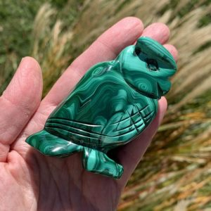 "Shop Malachite Shapes! Malachite Owl 2.9"" – Carved Animal – Natural Semiprecious Gemstone – Collectable – Gift – Home Decor- Meditation Stone- Healing Crystal 221g 