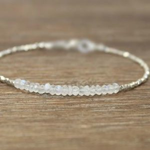 Shop Moonstone Bracelets! Moonstone Bracelet, Hill Tribe Silver, Pure Silver, Moonstone Jewelry, Gifts for her | Natural genuine Moonstone bracelets. Buy crystal jewelry, handmade handcrafted artisan jewelry for women.  Unique handmade gift ideas. #jewelry #beadedbracelets #beadedjewelry #gift #shopping #handmadejewelry #fashion #style #product #bracelets #affiliate #ad