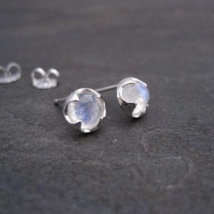 Shop Moonstone Earrings! Moonstone Stud Earrings, Sterling Silver, Rainbow Color, Rose Cut, Silver Studs, Round Studs, Genuine Gemstone, Blue Flash Studs, 6 Mm | Natural genuine Moonstone earrings. Buy crystal jewelry, handmade handcrafted artisan jewelry for women.  Unique handmade gift ideas. #jewelry #beadedearrings #beadedjewelry #gift #shopping #handmadejewelry #fashion #style #product #earrings #affiliate #ad