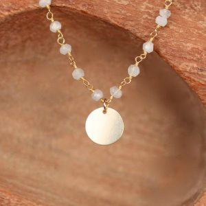 Moonstone beaded necklace – gold disc necklace – wedding necklace – june birthstone – | Natural genuine Array jewelry. Buy handcrafted artisan wedding jewelry.  Unique handmade bridal jewelry gift ideas. #jewelry #beadedjewelry #gift #crystaljewelry #shopping #handmadejewelry #wedding #bridal #jewelry #affiliate #ad