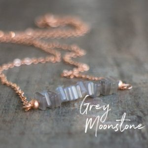 Grey Moonstone Necklace, June Birthday Gift for Her, Gemstone Bar Necklace, Moonstone Jewelry, June Birthstone, Rose Gold Necklace | Natural genuine Moonstone necklaces. Buy crystal jewelry, handmade handcrafted artisan jewelry for women.  Unique handmade gift ideas. #jewelry #beadednecklaces #beadedjewelry #gift #shopping #handmadejewelry #fashion #style #product #necklaces #affiliate #ad