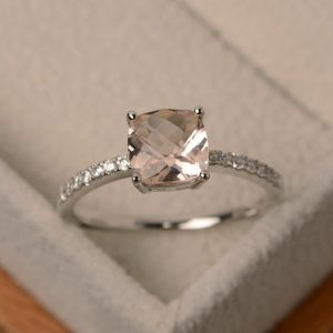 Morganite Engagement Ring, Wedding Rings, Natural Pink Morganite, Sterlling Silver | Natural genuine Array jewelry. Buy handcrafted artisan wedding jewelry.  Unique handmade bridal jewelry gift ideas. #jewelry #beadedjewelry #gift #crystaljewelry #shopping #handmadejewelry #wedding #bridal #jewelry #affiliate #ad