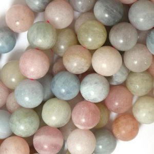 "Shop Morganite Round Beads! 12mm Matte Morganite Round Beads 15.5"" Strand Beryl 39792 