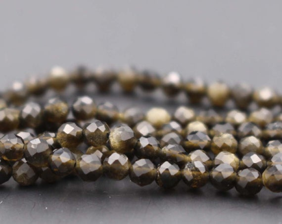3mm Natural Golded Obsidian Faceted Small Size Beads,3mm Small Size Beads Wholesale Bulk Supply,15 Inches One Starand
