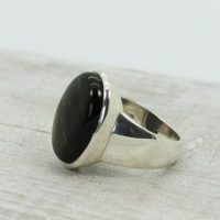 For Men Unisexe Silver Sheen Black Obsidian Ring Oval Shape Natural Obsidian Silver Sheen Set On 925 Sterling Silver Amazing Quality Ring | Natural genuine Gemstone jewelry. Buy handcrafted artisan men's jewelry, gifts for men.  Unique handmade mens fashion accessories. #jewelry #beadedjewelry #beadedjewelry #shopping #gift #handmadejewelry #jewelry #affiliate #ad
