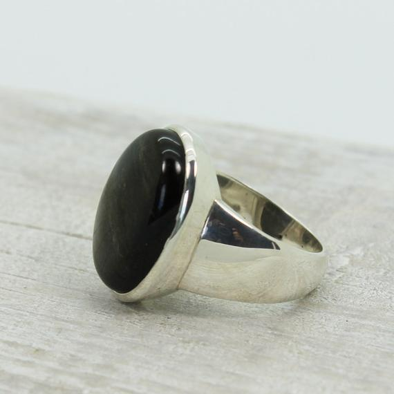 For Men Unisexe Silver Sheen Black Obsidian Ring Oval Shape Natural Obsidian Silver Sheen Set On 925 Sterling Silver Amazing Quality Ring
