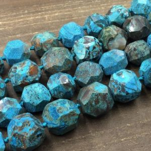 "Facted Blue Ocean Jasper Beads Large Ea Sediment Jasper Nugget Ball Beads Freeform Gemstone Beads Supplies 19-25*18-23mm 15.5"" Strand 