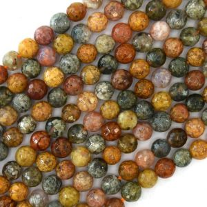 "6mm natural faceted ocean jasper round beads 15"" strand 40918 