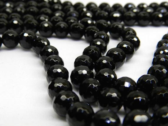 """Black Onyx Beads Natural Faceted 6mm/8mm/10mm/12mm, 15.5"""" Full Strand, Hole Size 0.8mm, Micro Cutting, Well Polish, Center Drill, Natural."""