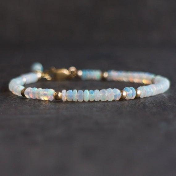 Fire Opal Bracelet, Ethiopian Opal Bracelet, White Opal Bracelet, Natural Welo Opal Bracelet, Real Opal Bracelet, Genuine Opal Jewelry