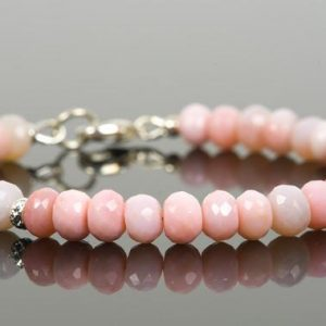 Shop Opal Bracelets! Pink Peruvian Opal Gemstone Bracelet, Natural Peruvian Opal 7mm Faceted Beads, Handmade Gemstone Jewelry | Natural genuine Opal bracelets. Buy crystal jewelry, handmade handcrafted artisan jewelry for women.  Unique handmade gift ideas. #jewelry #beadedbracelets #beadedjewelry #gift #shopping #handmadejewelry #fashion #style #product #bracelets #affiliate #ad