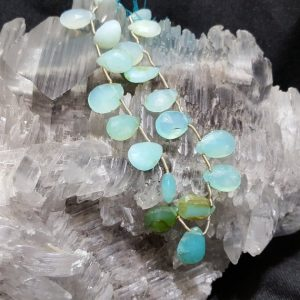 Peruvian Opal Faceted Flat Drop Bead 8 In. Strand, Blue Green Peruvian Opal Bead, Genuine Opal, Natural Semi Precious Gemstone, Pear, Drop | Natural genuine other-shape Gemstone beads for beading and jewelry making.  #jewelry #beads #beadedjewelry #diyjewelry #jewelrymaking #beadstore #beading #affiliate #ad