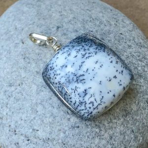 Shop Opal Pendants! Dendritic Opal Silver Pendant, Merlinite Stone Pendant, Square Stone Pendant, Blue & White Shades, Natural Gemstone Pendant, Spiritual Gift | Natural genuine Opal pendants. Buy crystal jewelry, handmade handcrafted artisan jewelry for women.  Unique handmade gift ideas. #jewelry #beadedpendants #beadedjewelry #gift #shopping #handmadejewelry #fashion #style #product #pendants #affiliate #ad