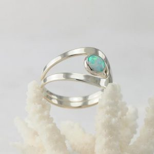 Shop Opal Rings! Opal Ring, Blue Opal Ring, Opal Gemstone Ring, Sterling Silver Stone Ring, Handmade Sterling Silver Statement Ring, October Birthstone | Natural genuine Opal rings, simple unique handcrafted gemstone rings. #rings #jewelry #shopping #gift #handmade #fashion #style #affiliate #ad