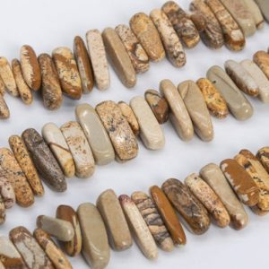 """Shop Picture Jasper Chip & Nugget Beads! 12-24×3-5MM Picture Jasper Beads Stick Pebble Chip Grade AAA Genuine Natural Gemstone Loose Beads 15.5"""" / 7.5"""" Bulk Lot Options (111242) 