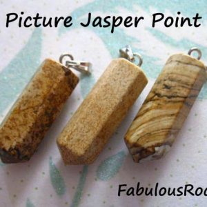 Shop Picture Jasper Beads! 1 to 25 pcs / Point Charm, Gemstone Pendant, PICTURE JASPER Charm, Gemstone Gem Pencil Point Charm Gemstone Bullet Spike Pendant solo ap70.3 | Natural genuine beads Picture Jasper beads for beading and jewelry making.  #jewelry #beads #beadedjewelry #diyjewelry #jewelrymaking #beadstore #beading #affiliate #ad