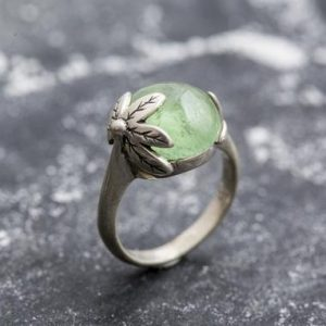 Shop Prehnite Rings! Leaf Ring, Prehnite Ring, Natural Prehnite, Green Ring, May Birthstone, Unique Ring, Solid Silver Ring, May Ring, Green Leaf Ring, Prehnite | Natural genuine Prehnite rings, simple unique handcrafted gemstone rings. #rings #jewelry #shopping #gift #handmade #fashion #style #affiliate #ad