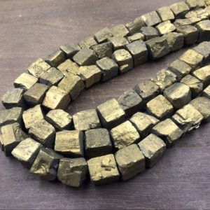 "Shop Pyrite Chip & Nugget Beads! Gold Plated Pyrite Nuggets Gold Cubs Iron Pyrite Nugget Cube Beads 10-12mm Rough Stone Loose beads Natural Gemstone 15.5"" full strand 