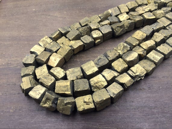 "Gold Plated Pyrite Nuggets Gold Cubs Iron Pyrite Nugget Cube Beads 10-12mm Rough Stone Loose Beads Natural Gemstone 15.5"" Full Strand"