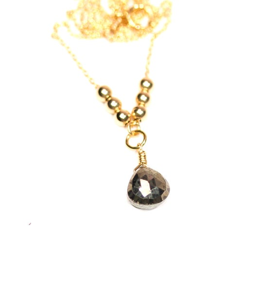 Pyrite Necklace, Elegant Necklace, Gold Teardrop Gemstone, Y Necklace, Healing Stone Jewelry, Lariat Necklace, Layering Necklace