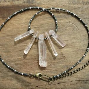 Shop Quartz Crystal Necklaces! Rough Quartz Crystal Necklace, Rustic Bohemian Style Peach Quartz Crystal Fan Beaded Necklace, Gray And Pink Jewelry | Natural genuine Quartz necklaces. Buy crystal jewelry, handmade handcrafted artisan jewelry for women.  Unique handmade gift ideas. #jewelry #beadednecklaces #beadedjewelry #gift #shopping #handmadejewelry #fashion #style #product #necklaces #affiliate #ad