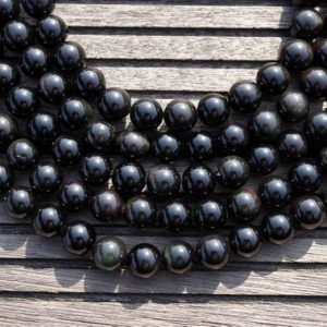 Shop Rainbow Obsidian Beads! Rainbow Obsidian 11-12mm round beads  (ETB00142) | Natural genuine round Rainbow Obsidian beads for beading and jewelry making.  #jewelry #beads #beadedjewelry #diyjewelry #jewelrymaking #beadstore #beading #affiliate #ad