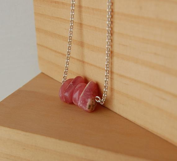 Rhodochrosite Necklace, Rhodocrosite Pendant, Rhodocrosite Stone, Inca Rose,dainty, Stones Of The Heart,love Stones, Gift Ideas For Her,love