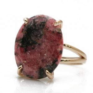 Shop Rhodonite Rings! Rhodonite ring,rose gold ring,statement ring,oval stone ring,gemstone ring,14k gold ring for women,bridal ring,pink gem ring | Natural genuine Rhodonite rings, simple unique alternative gemstone engagement rings. #rings #jewelry #bridal #wedding #jewelryaccessories #engagementrings #weddingideas #affiliate #ad