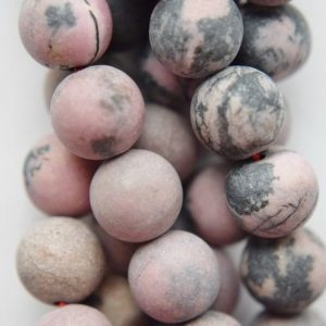 """Shop Rhodonite Round Beads! Genuine Matte Rhodonite Beads, Black Veined Rhodonite – Round 10 mm Gemstone Beads – Full Strand 15 1/2"""", 39 beads, A Quality 