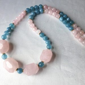 Bold colorblock  pink & blue gemstone necklace. Chunky modern statement jewelry. Short length. Blue and rose quartz color block | Natural genuine Gemstone necklaces. Buy crystal jewelry, handmade handcrafted artisan jewelry for women.  Unique handmade gift ideas. #jewelry #beadednecklaces #beadedjewelry #gift #shopping #handmadejewelry #fashion #style #product #necklaces #affiliate #ad