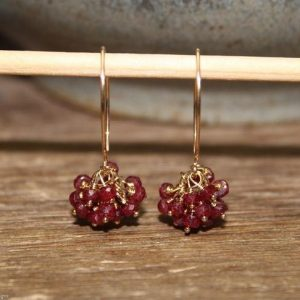 Genuine Ruby Earrings, Ethiopian Ruby Jewelry, Cluster Earrings, July Birthstone, Silver or Gold | Natural genuine Gemstone earrings. Buy crystal jewelry, handmade handcrafted artisan jewelry for women.  Unique handmade gift ideas. #jewelry #beadedearrings #beadedjewelry #gift #shopping #handmadejewelry #fashion #style #product #earrings #affiliate #ad
