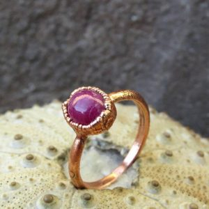 Shop Ruby Rings! Ruby Cabochon Ring | Ruby Copper Ring | Ruby Electroformed Ring | Natural genuine Ruby rings, simple unique handcrafted gemstone rings. #rings #jewelry #shopping #gift #handmade #fashion #style #affiliate #ad