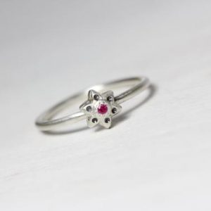 Shop Ruby Rings! Cute Ruby Star Flower Stacking Ring Genuine Pink Red July Birthstone Delicate Romantic Gift Idea Her Gardener Girlfriend – Rubinsternchen | Natural genuine Ruby rings, simple unique handcrafted gemstone rings. #rings #jewelry #shopping #gift #handmade #fashion #style #affiliate #ad