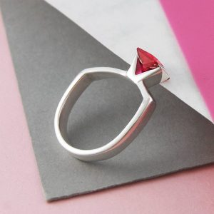 Shop Ruby Jewelry! Ruby Ring, Geometric Ring, July Birthstone Ring, Red Cubic Zirconia, Silver Ring, Sterling Silver Ring, Gemstone Ring, Ring Ruby Birthstone | Natural genuine Ruby jewelry. Buy crystal jewelry, handmade handcrafted artisan jewelry for women.  Unique handmade gift ideas. #jewelry #beadedjewelry #beadedjewelry #gift #shopping #handmadejewelry #fashion #style #product #jewelry #affiliate #ad