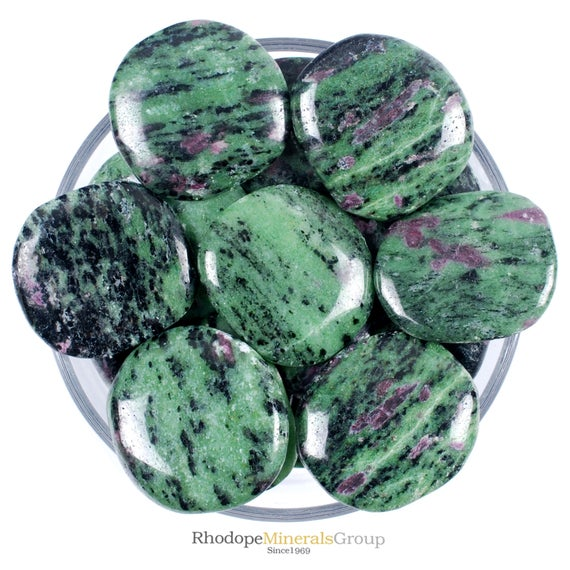 One 1 Smooth Ruby Zoisite Stone, Smooth Ruby Zoisite Palm Stones, Smooth Ruby Zoisite Tumbled Stones, Palm Ruby Zoisite Stones