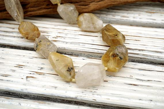 Rutilated Quartz 13-20mm Faceted Beads (etb00453) Healing Energy/unique Jewelry/vintage Jewelry/gemstone Necklace