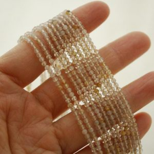 "Shop Rutilated Quartz Faceted Beads! High Quality Grade A Natural Golden Rutilated Quartz Semi-Precious Gemstone FACETED Round Beads – approx 2mm – 15.5"" strand 