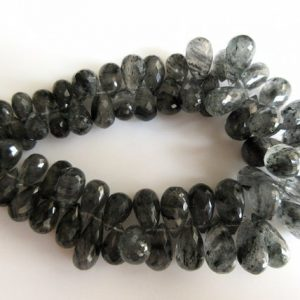 Shop Rutilated Quartz Bead Shapes! Rutile Quartz Briolette, Black Rutilated Quartz Huge Tear Drops, Faceted Beads, 14mm To 9mm Each, 4 Inch Half Strand, SKU-RQ2 | Natural genuine other-shape Rutilated Quartz beads for beading and jewelry making.  #jewelry #beads #beadedjewelry #diyjewelry #jewelrymaking #beadstore #beading #affiliate #ad