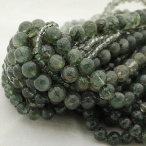 "Shop Rutilated Quartz Round Beads! High Quality Grade A Natural Green Rutilated Quartz Round Beads – 4mm, 6mm, 8mm, 10mm sizes – Approx 15.5"" strand 