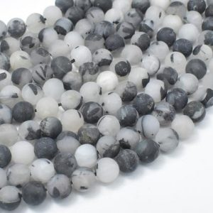 Shop Rutilated Quartz Round Beads! Matte Black Rutilated Quartz Beads, 6mm (6.5mm) Round Beads, 15.5 Inch, Full strand, Approx 61 beads, Hole 1mm (143054010) | Natural genuine round Rutilated Quartz beads for beading and jewelry making.  #jewelry #beads #beadedjewelry #diyjewelry #jewelrymaking #beadstore #beading #affiliate #ad