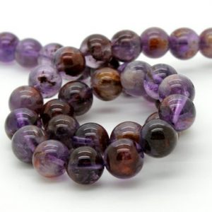 Shop Rutilated Quartz Round Beads! Purple Rutilated Quartz Super Seven Smooth Round Natural Gemstone Loose Beads – Full Strand | Natural genuine round Rutilated Quartz beads for beading and jewelry making.  #jewelry #beads #beadedjewelry #diyjewelry #jewelrymaking #beadstore #beading #affiliate #ad