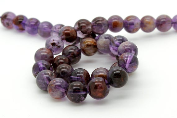 Purple Rutilated Quartz Super Seven Smooth Round Natural Gemstone Loose Beads - Full Strand