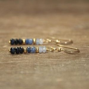 Ombre Blue Sapphire Earrings, Sterling Silver or Gold Filled, Sapphire Jewelry, September Birthstone | Natural genuine Gemstone earrings. Buy crystal jewelry, handmade handcrafted artisan jewelry for women.  Unique handmade gift ideas. #jewelry #beadedearrings #beadedjewelry #gift #shopping #handmadejewelry #fashion #style #product #earrings #affiliate #ad