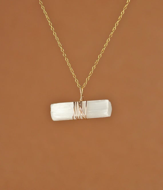 Crystal Necklace - Selenite Necklace - Raw Crystal - Healing Crystal - A Raw Selenite Wand Wire Wrapped Onto A 14k Gold Vermeil Chain