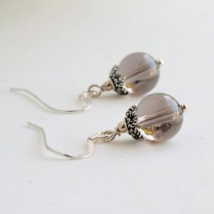 Shop Smoky Quartz Earrings! Natural Smokey Quartz Sterling Silver Earrings brown grey gemstone dangle dainty everyday drops Mother's day birthday gift for her 4933 | Natural genuine Smoky Quartz earrings. Buy crystal jewelry, handmade handcrafted artisan jewelry for women.  Unique handmade gift ideas. #jewelry #beadedearrings #beadedjewelry #gift #shopping #handmadejewelry #fashion #style #product #earrings #affiliate #ad