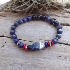 Blue Sodalite Beaded Stretch Bracelet / blue Chakra Sodalite Jewelry Everyday Bracelet Gift For Darling Something Needs Wife | Natural genuine Gemstone bracelets. Buy crystal jewelry, handmade handcrafted artisan jewelry for women.  Unique handmade gift ideas. #jewelry #beadedbracelets #beadedjewelry #gift #shopping #handmadejewelry #fashion #style #product #bracelets #affiliate #ad