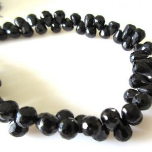 Shop Spinel Bead Shapes! Black Spinel Briolette Beads, Faceted Black Spinel Tear Drop Beads, 6mm Natural Loose Black Spinel, 10 Inch Strand, Gds1085 | Natural genuine other-shape Spinel beads for beading and jewelry making.  #jewelry #beads #beadedjewelry #diyjewelry #jewelrymaking #beadstore #beading #affiliate #ad