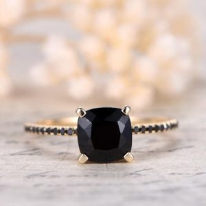 Shop Spinel Jewelry! Black Spinel Ring Solid 14K Yellow Gold Engagement Ring SI-H 0.14ct South African Diamond Ring Deco Wedding Promise Ring Black Diamond Band | Natural genuine Spinel jewelry. Buy handcrafted artisan wedding jewelry.  Unique handmade bridal jewelry gift ideas. #jewelry #beadedjewelry #gift #crystaljewelry #shopping #handmadejewelry #wedding #bridal #jewelry #affiliate #ad